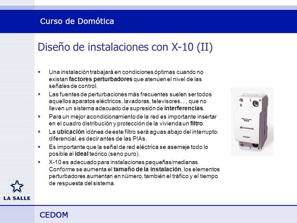 Diseño de instalaciones con X-10 (II) Una instalación trabajará en condiciones óptimas cuando no existan factores perturbadores que atenúen el nivel de las señales de control.