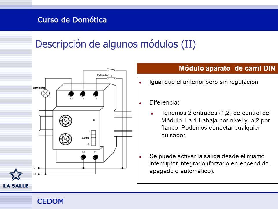 Descripción de algunos módulos (II) Módulo aparato de carril DIN l Igual que el anterior pero sin regulación.