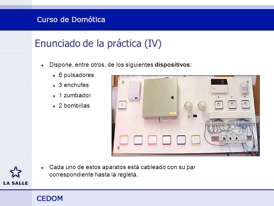 Enunciado de la práctica (IV) l Dispone, entre otros, de los siguientes dispositivos: l 6 pulsadores l 3 enchufes l 1 zumbador l 2 bombillas l Cada uno de estos aparatos está cableado con su par correspondiente hasta la regleta.