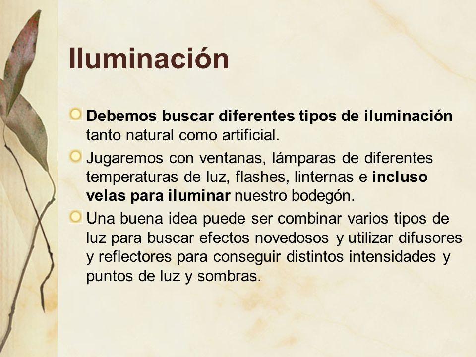 Iluminación Debemos buscar diferentes tipos de iluminación tanto natural como artificial.