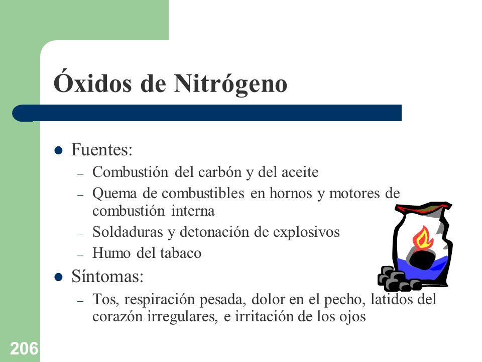 206 Óxidos de Nitrógeno Fuentes: – Combustión del carbón y del aceite – Quema de combustibles en hornos y motores de combustión interna – Soldaduras y
