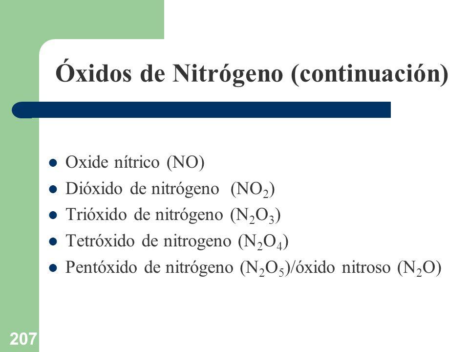 207 Óxidos de Nitrógeno (continuación) Oxide nítrico (NO) Dióxido de nitrógeno (NO 2 ) Trióxido de nitrógeno (N 2 O 3 ) Tetróxido de nitrogeno (N 2 O
