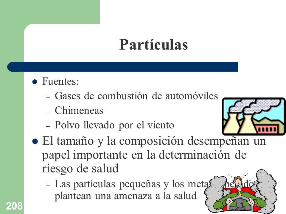 208 Partículas Fuentes: – Gases de combustión de automóviles – Chimeneas – Polvo llevado por el viento El tamaño y la composición desempeñan un papel
