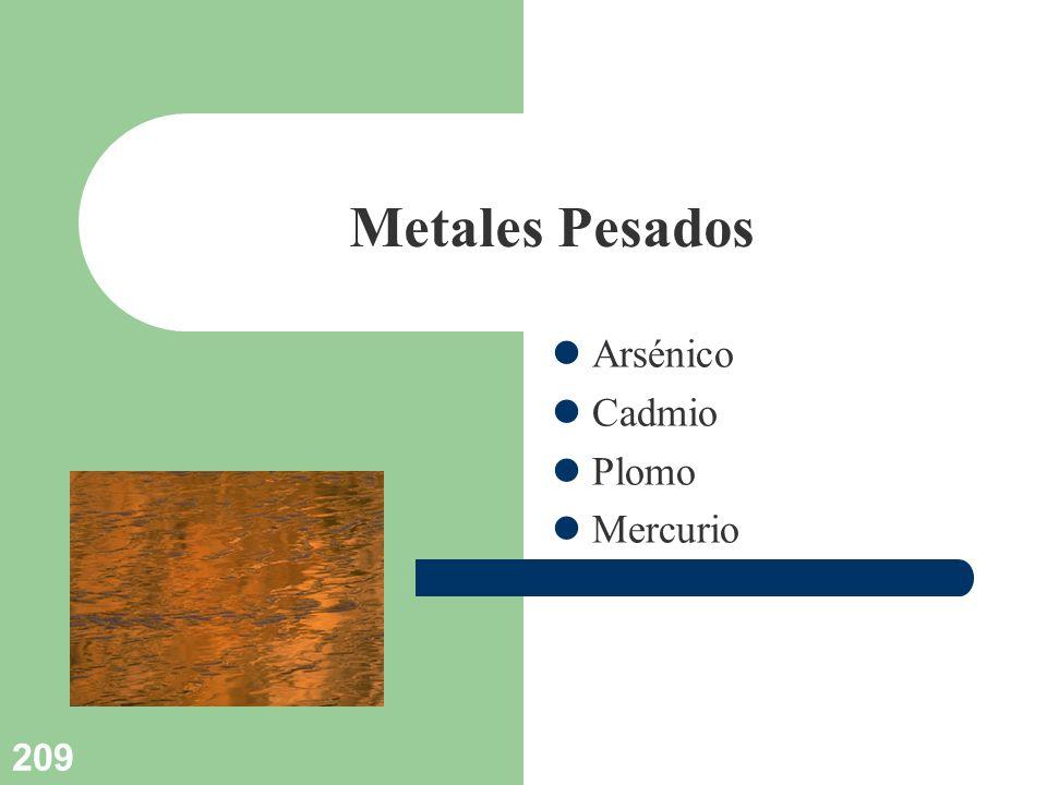 209 Metales Pesados Arsénico Cadmio Plomo Mercurio