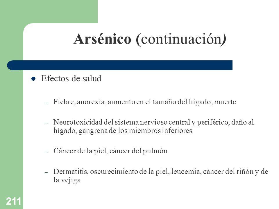 211 Arsénico (continuación) Efectos de salud – Fiebre, anorexia, aumento en el tamaño del hígado, muerte – Neurotoxicidad del sistema nervioso central