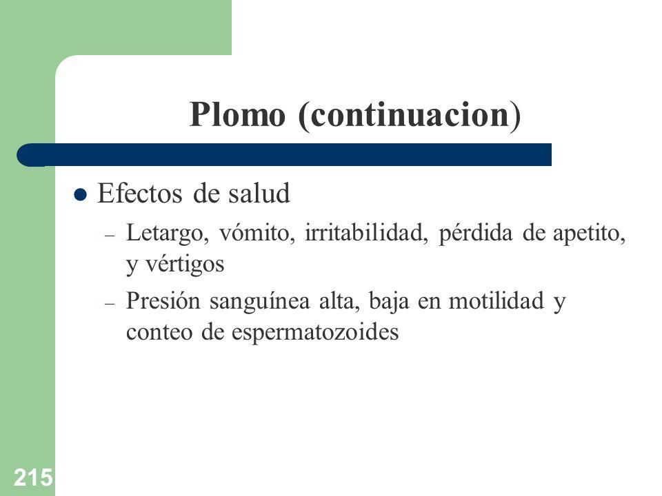 215 Plomo (continuacion) Efectos de salud – Letargo, vómito, irritabilidad, pérdida de apetito, y vértigos – Presión sanguínea alta, baja en motilidad