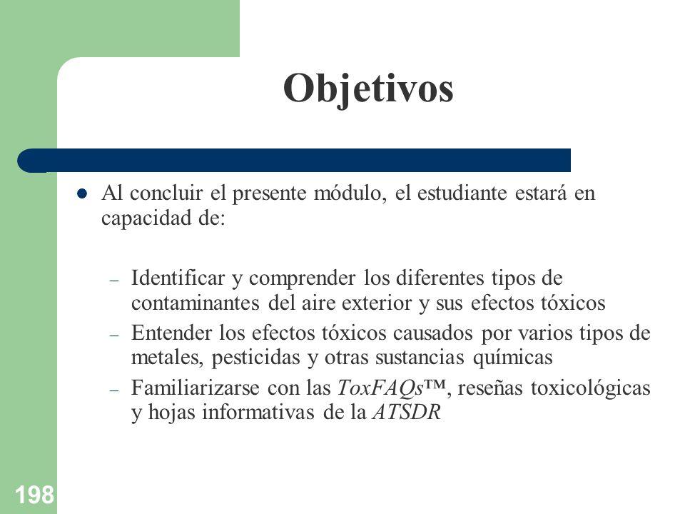 198 Objetivos Al concluir el presente módulo, el estudiante estará en capacidad de: – Identificar y comprender los diferentes tipos de contaminantes d