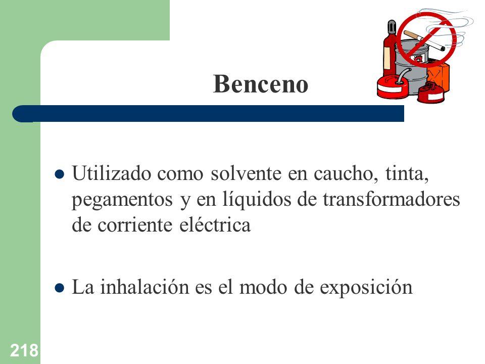218 Benceno Utilizado como solvente en caucho, tinta, pegamentos y en líquidos de transformadores de corriente eléctrica La inhalación es el modo de e