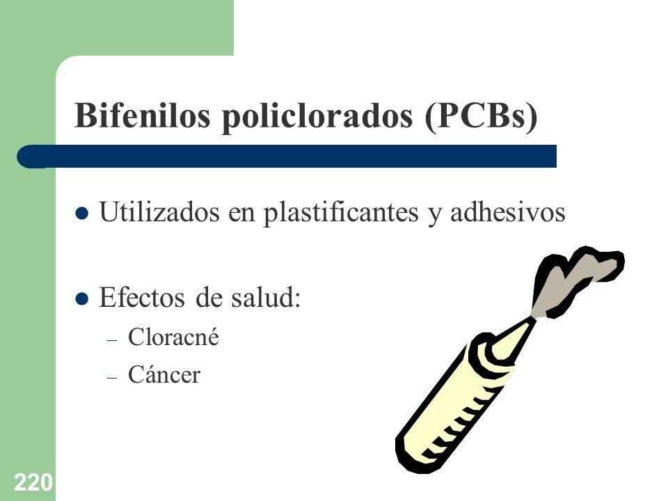 220 Bifenilos policlorados (PCBs) Utilizados en plastificantes y adhesivos Efectos de salud: – Cloracné – Cáncer