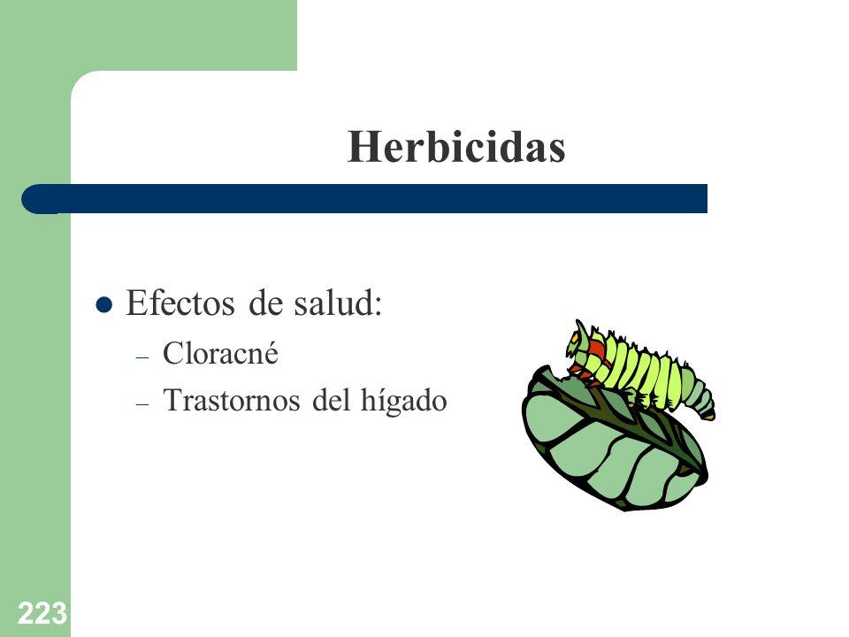 223 Herbicidas Efectos de salud: – Cloracné – Trastornos del hígado