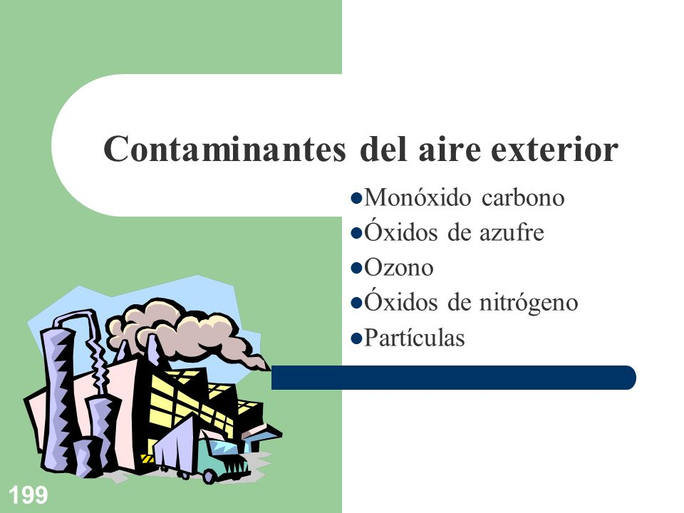 199 Contaminantes del aire exterior Monóxido carbono Óxidos de azufre Ozono Óxidos de nitrógeno Partículas