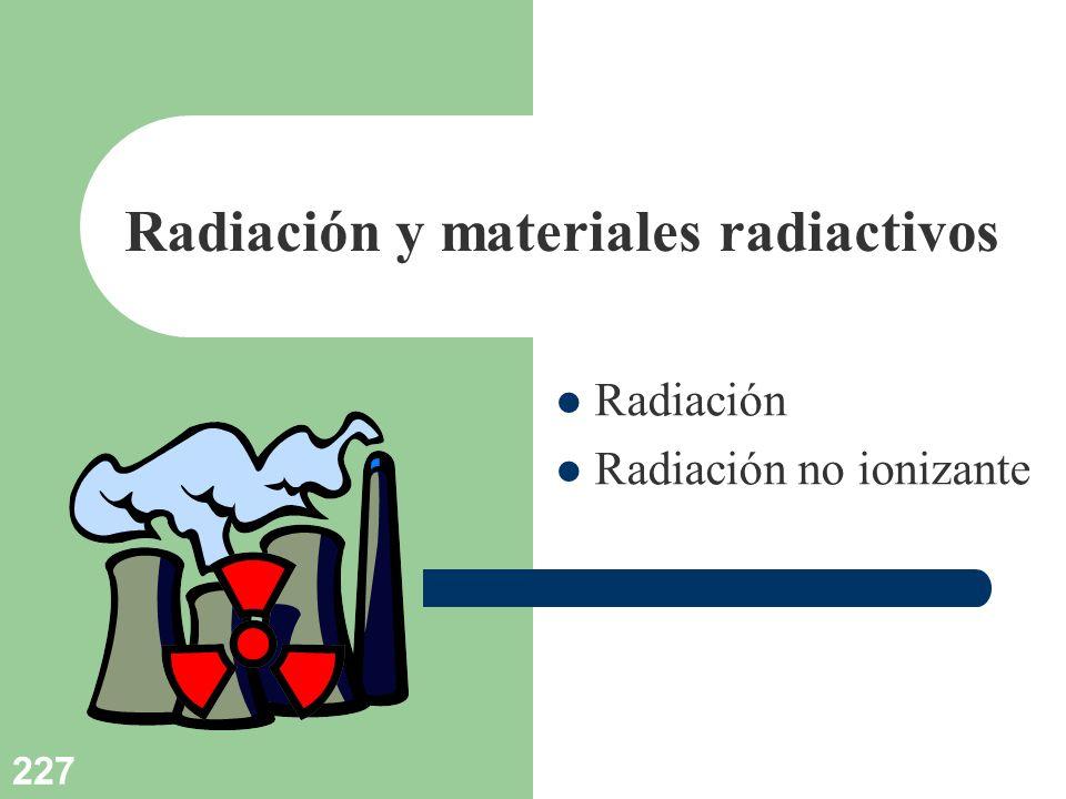 227 Radiación y materiales radiactivos Radiación Radiación no ionizante