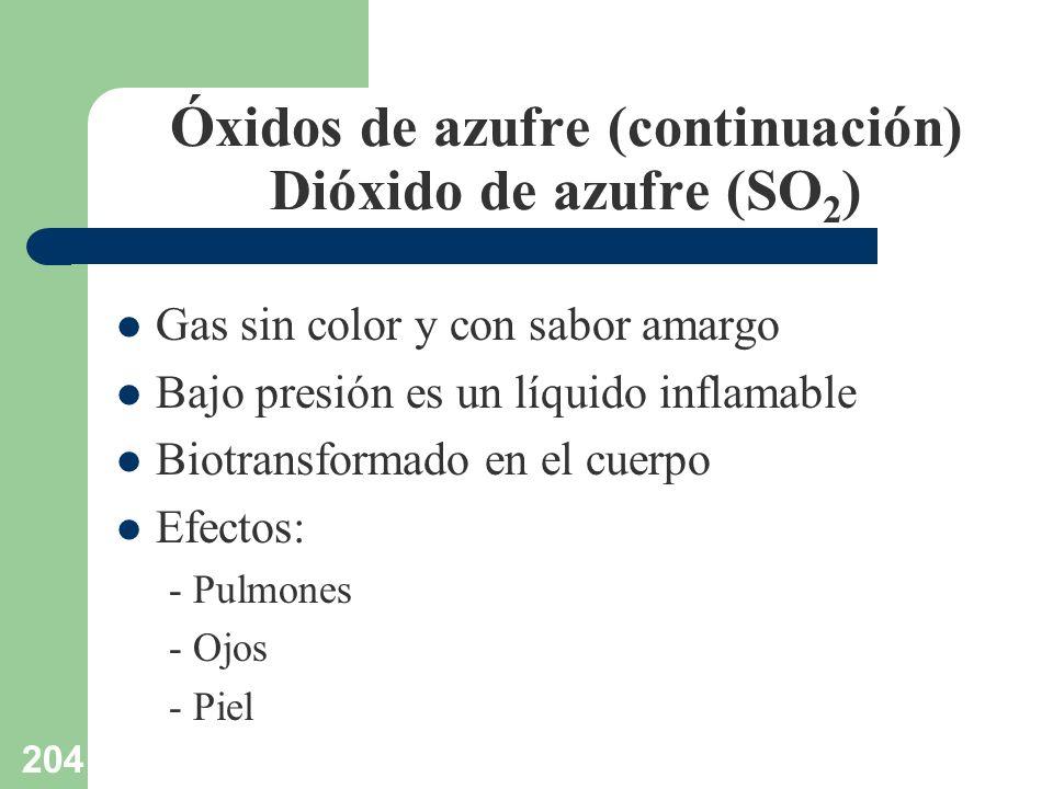 204 Óxidos de azufre (continuación) Dióxido de azufre (SO 2 ) Gas sin color y con sabor amargo Bajo presión es un líquido inflamable Biotransformado e