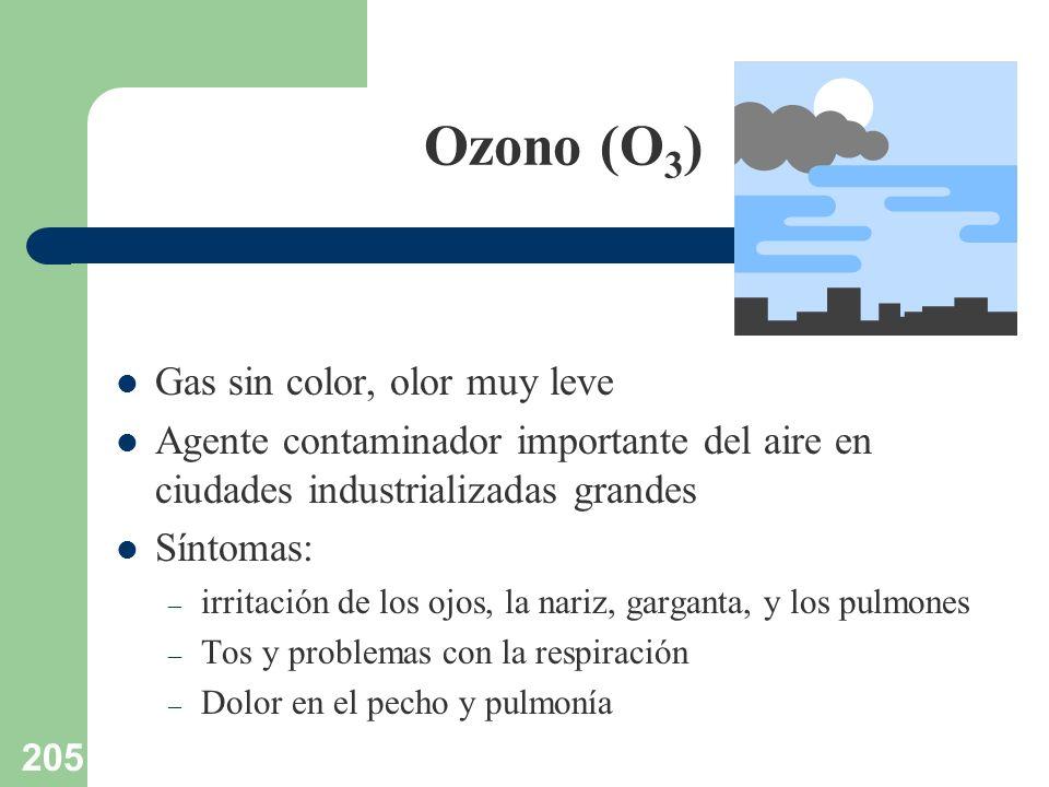 205 Ozono (O 3 ) Gas sin color, olor muy leve Agente contaminador importante del aire en ciudades industrializadas grandes Síntomas: – irritación de l