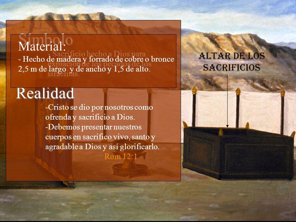 Altar de los sacrificios. Símbolo - - Sacrificio hecho a Dios para expiación de los pecados de los israelitas. Realidad -Cristo se dio por nosotros co