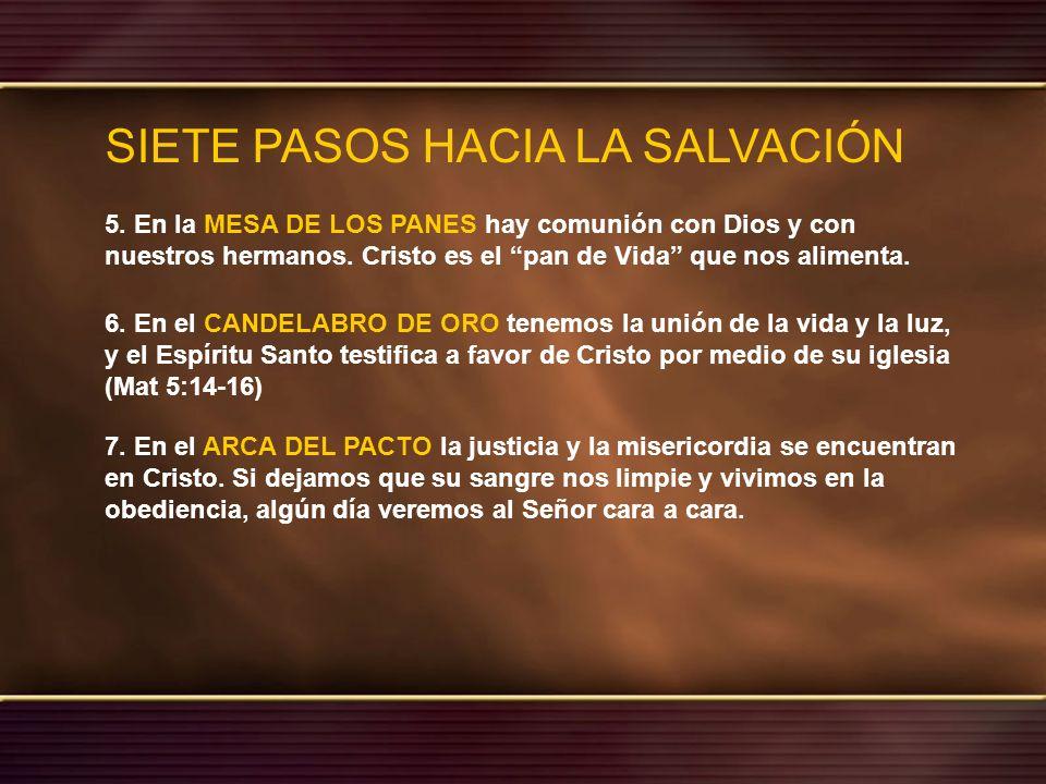 SIETE PASOS HACIA LA SALVACIÓN 5. En la MESA DE LOS PANES hay comunión con Dios y con nuestros hermanos. Cristo es el pan de Vida que nos alimenta. 6.