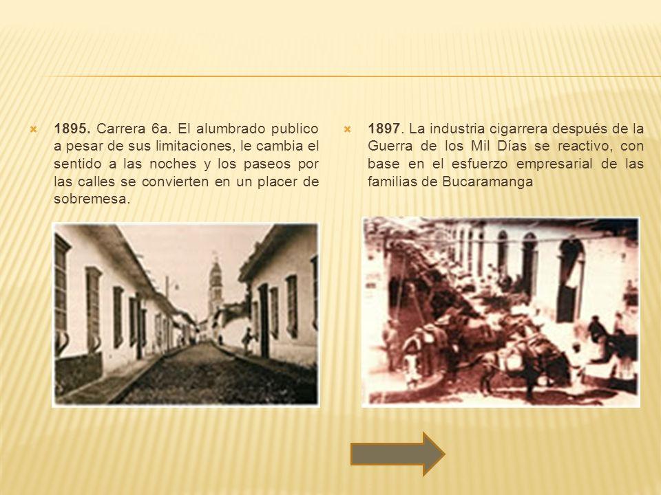 1895. Carrera 6a. El alumbrado publico a pesar de sus limitaciones, le cambia el sentido a las noches y los paseos por las calles se convierten en un