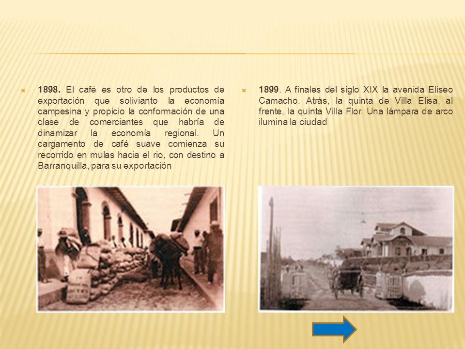 1898. El café es otro de los productos de exportación que solivianto la economía campesina y propicio la conformación de una clase de comerciantes que