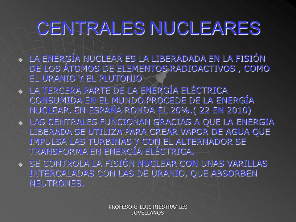 PROFESOR: LUIS RIESTRA/ IES JOVELLANOS CENTRALES NUCLEARES LA ENERGÍA NUCLEAR ES LA LIBERADADA EN LA FISIÓN DE LOS ÁTOMOS DE ELEMENTOS RADIOACTIVOS, C
