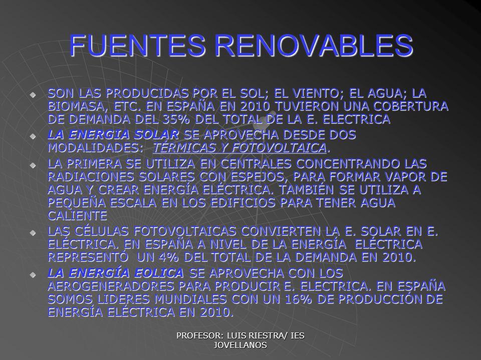 PROFESOR: LUIS RIESTRA/ IES JOVELLANOS FUENTES RENOVABLES SON LAS PRODUCIDAS POR EL SOL; EL VIENTO; EL AGUA; LA BIOMASA, ETC. EN ESPAÑA EN 2010 TUVIER