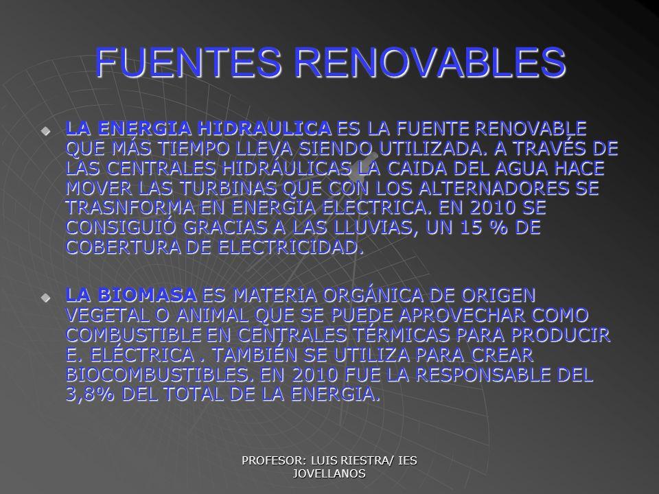 PROFESOR: LUIS RIESTRA/ IES JOVELLANOS FUENTES RENOVABLES LA ENERGIA HIDRAULICA ES LA FUENTE RENOVABLE QUE MÁS TIEMPO LLEVA SIENDO UTILIZADA. A TRAVÉS