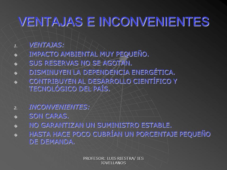 PROFESOR: LUIS RIESTRA/ IES JOVELLANOS VENTAJAS E INCONVENIENTES 1. VENTAJAS: IMPACTO AMBIENTAL MUY PEQUEÑO. IMPACTO AMBIENTAL MUY PEQUEÑO. SUS RESERV