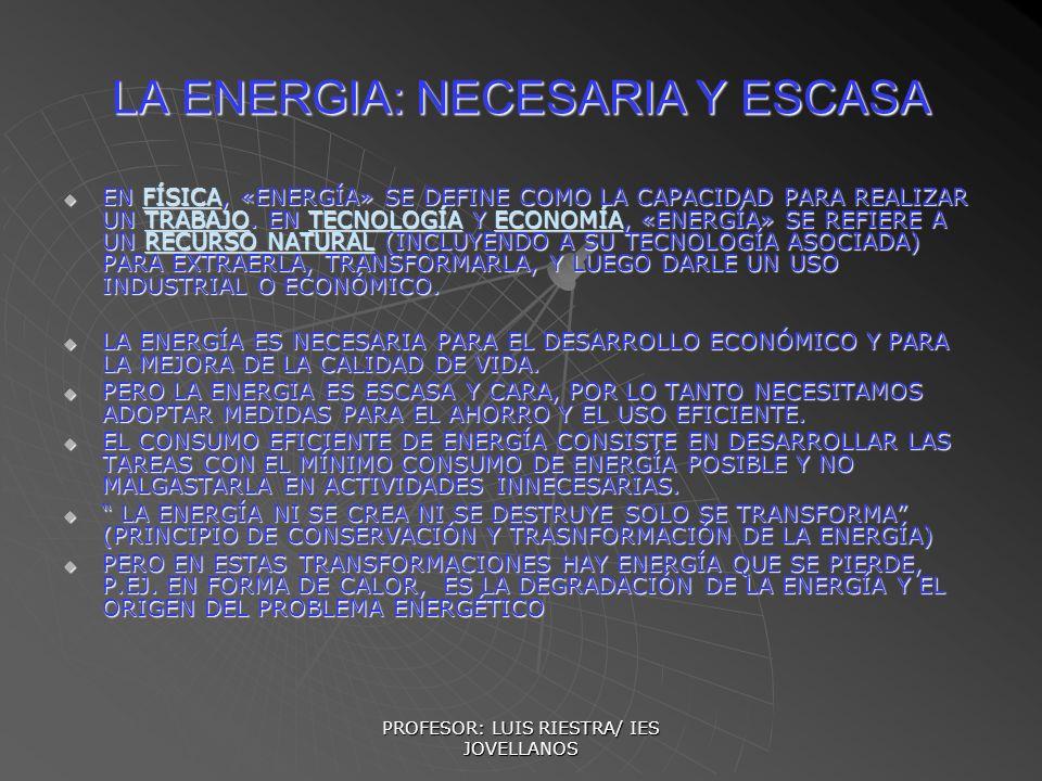 PROFESOR: LUIS RIESTRA/ IES JOVELLANOS LA ENERGIA: NECESARIA Y ESCASA EN FÍSICA, «ENERGÍA» SE DEFINE COMO LA CAPACIDAD PARA REALIZAR UN TRABAJO. EN TE