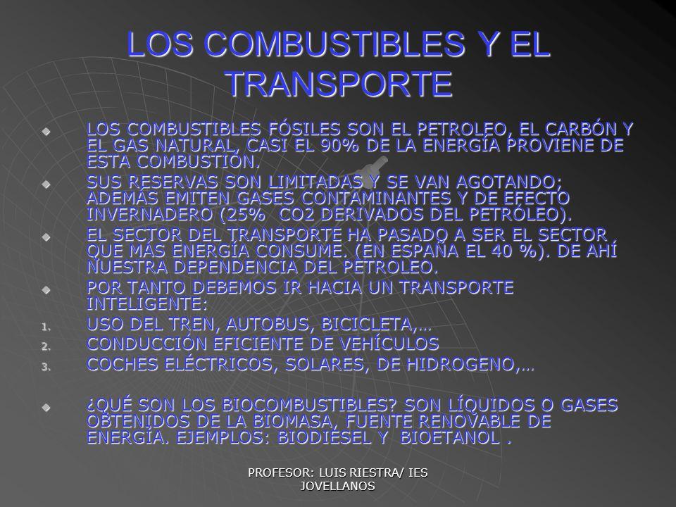 PROFESOR: LUIS RIESTRA/ IES JOVELLANOS LOS COMBUSTIBLES Y EL TRANSPORTE LOS COMBUSTIBLES FÓSILES SON EL PETROLEO, EL CARBÓN Y EL GAS NATURAL, CASI EL