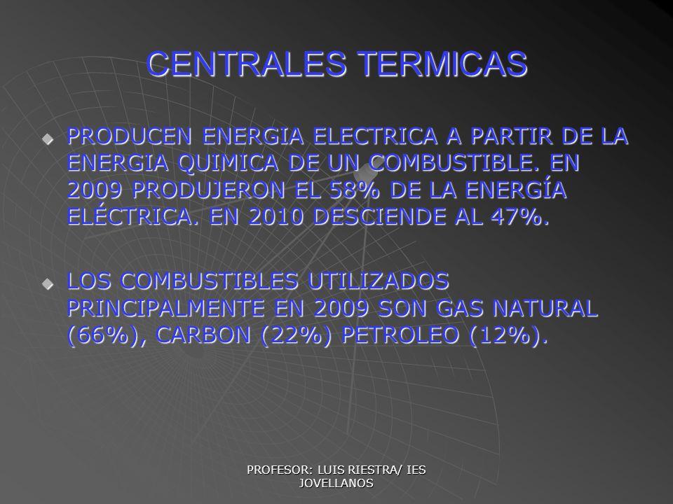 PROFESOR: LUIS RIESTRA/ IES JOVELLANOS CENTRALES TERMICAS PRODUCEN ENERGIA ELECTRICA A PARTIR DE LA ENERGIA QUIMICA DE UN COMBUSTIBLE. EN 2009 PRODUJE