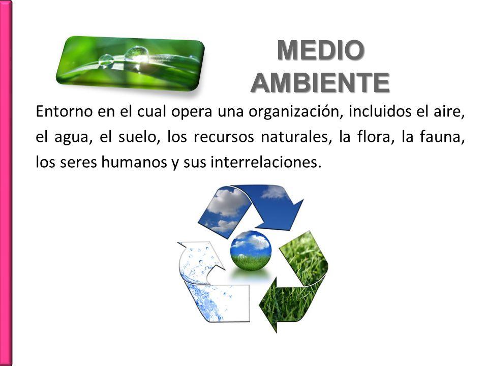 MEDIO AMBIENTE Entorno en el cual opera una organización, incluidos el aire, el agua, el suelo, los recursos naturales, la flora, la fauna, los seres