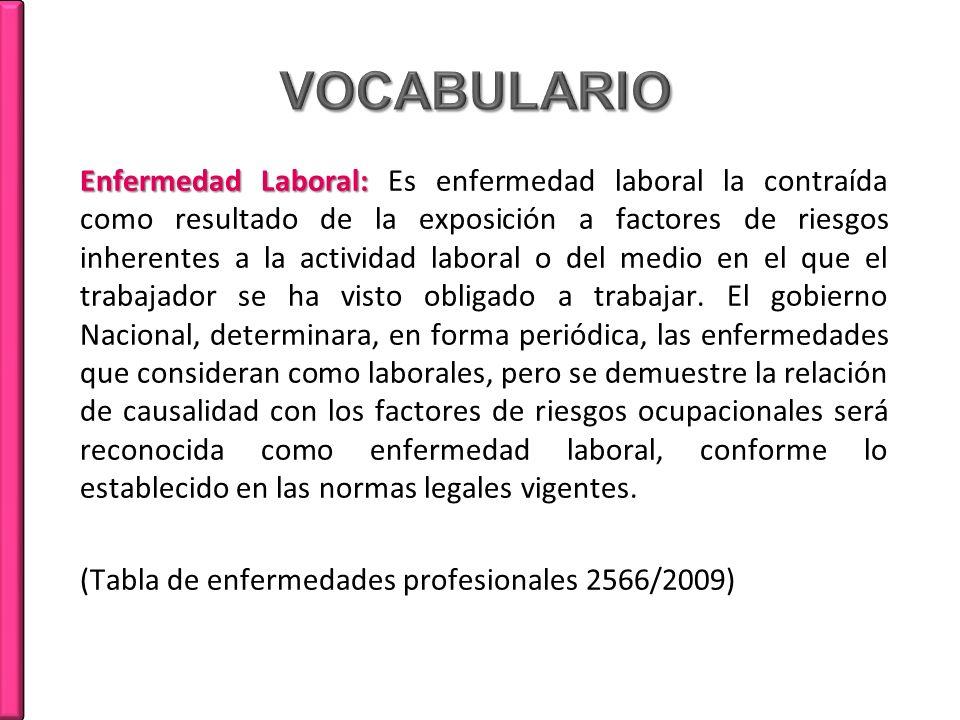 Enfermedad Laboral: Enfermedad Laboral: Es enfermedad laboral la contraída como resultado de la exposición a factores de riesgos inherentes a la activ