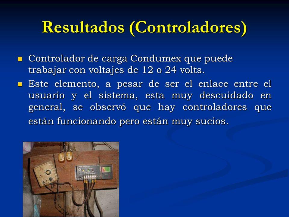Resultados (Controladores) Controlador de carga Condumex que puede trabajar con voltajes de 12 o 24 volts.