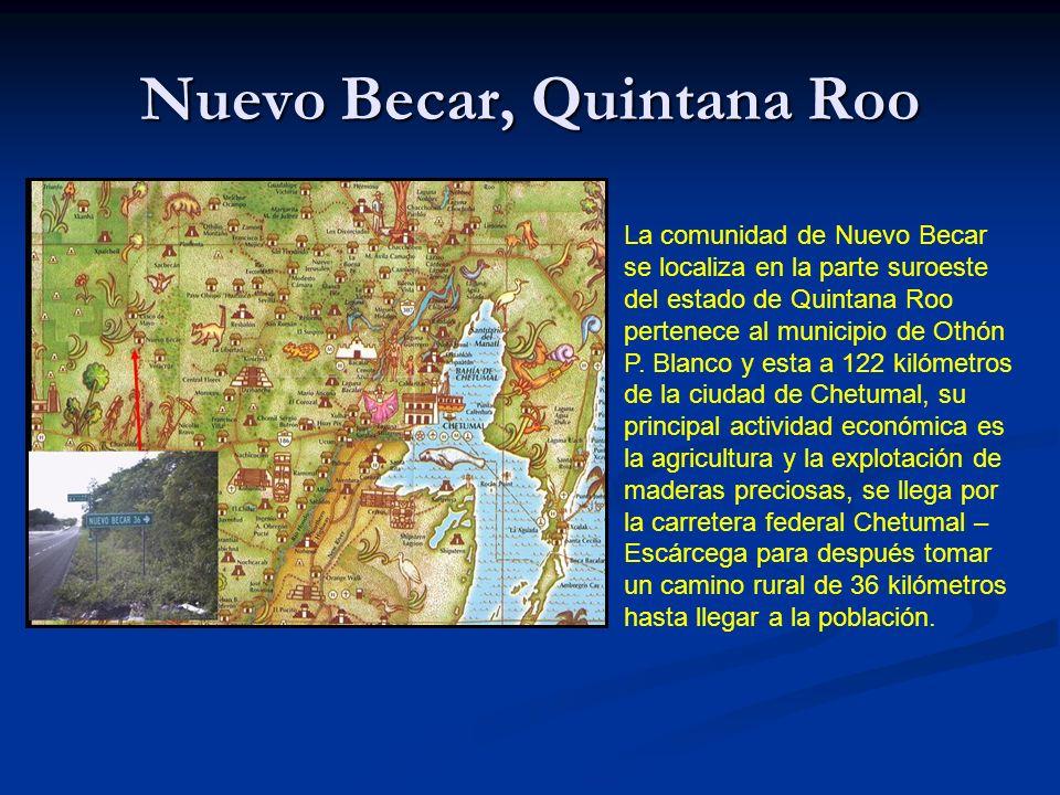 Nuevo Becar, Quintana Roo La comunidad de Nuevo Becar se localiza en la parte suroeste del estado de Quintana Roo pertenece al municipio de Othón P.
