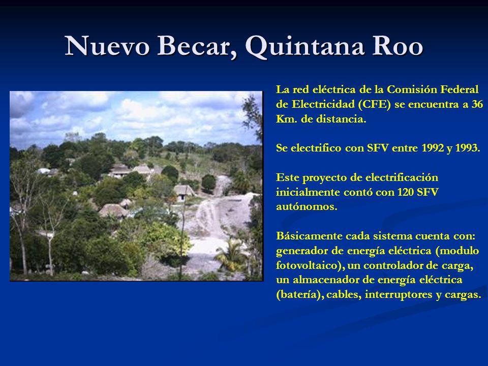 Nuevo Becar, Quintana Roo La red eléctrica de la Comisión Federal de Electricidad (CFE) se encuentra a 36 Km.