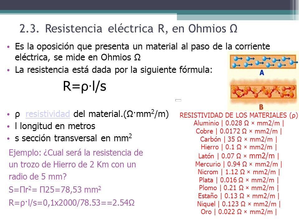 2.3. Resistencia eléctrica R, en Ohmios Ω Es la oposición que presenta un material al paso de la corriente eléctrica, se mide en Ohmios Ω La resistenc