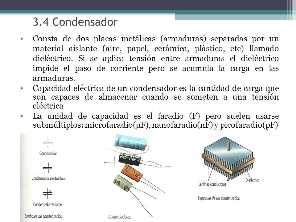 3.4 Condensador Consta de dos placas metálicas (armaduras) separadas por un material aislante (aire, papel, cerámica, plástico, etc) llamado dieléctrico.