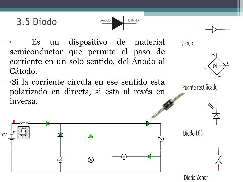 3.5 Diodo Es un dispositivo de material semiconductor que permite el paso de corriente en un solo sentido, del Ánodo al Cátodo.
