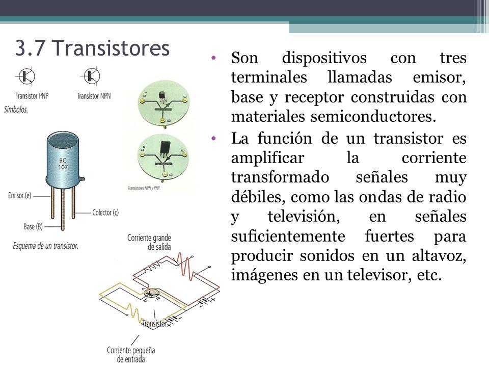 3.7 Transistores Son dispositivos con tres terminales llamadas emisor, base y receptor construidas con materiales semiconductores.