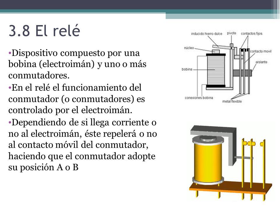 3.8 El relé Dispositivo compuesto por una bobina (electroimán) y uno o más conmutadores.