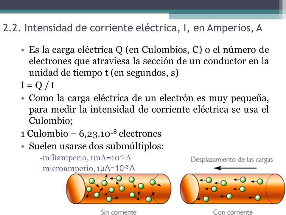 2.2. Intensidad de corriente eléctrica, I, en Amperios, A Es la carga eléctrica Q (en Culombios, C) o el número de electrones que atraviesa la sección
