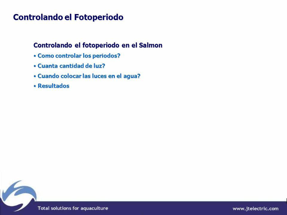 Controlando el fotoperiodo en el Salmon Como controlar los periodos? Como controlar los periodos? Cuanta cantidad de luz? Cuanta cantidad de luz? Cuan