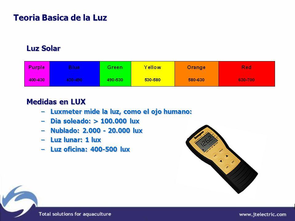 Teoria Basica de la Luz Luz Solar Medidas en LUX –Luxmeter mide la luz, como el ojo humano: –Dia soleado: > 100.000 lux –Nublado: 2.000 - 20.000 lux –