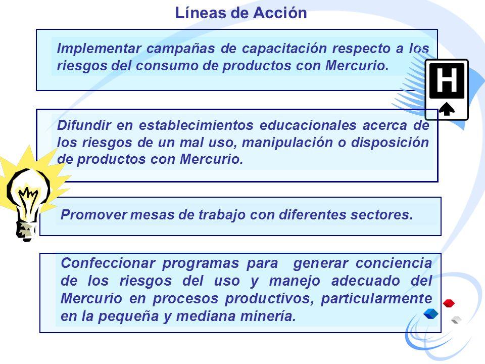 Implementar campañas de capacitación respecto a los riesgos del consumo de productos con Mercurio. Líneas de Acción Difundir en establecimientos educa