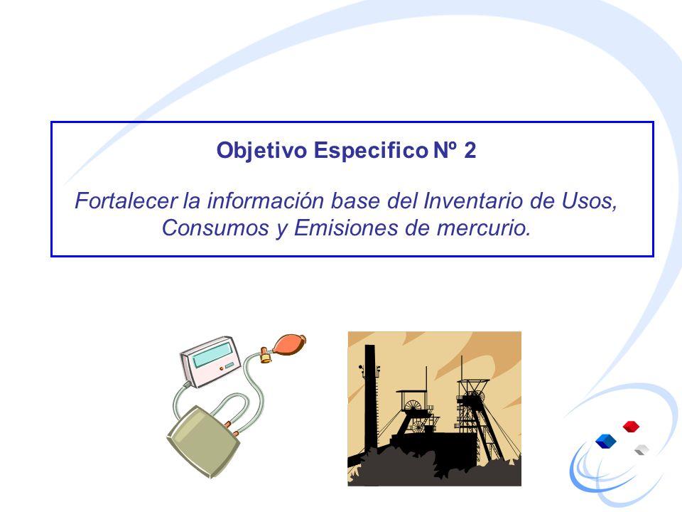 Objetivo Especifico Nº 2 Fortalecer la información base del Inventario de Usos, Consumos y Emisiones de mercurio.
