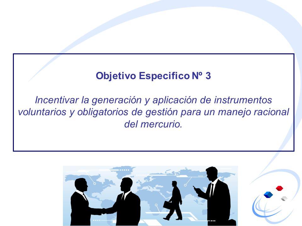 Objetivo Especifico Nº 3 Incentivar la generación y aplicación de instrumentos voluntarios y obligatorios de gestión para un manejo racional del mercu