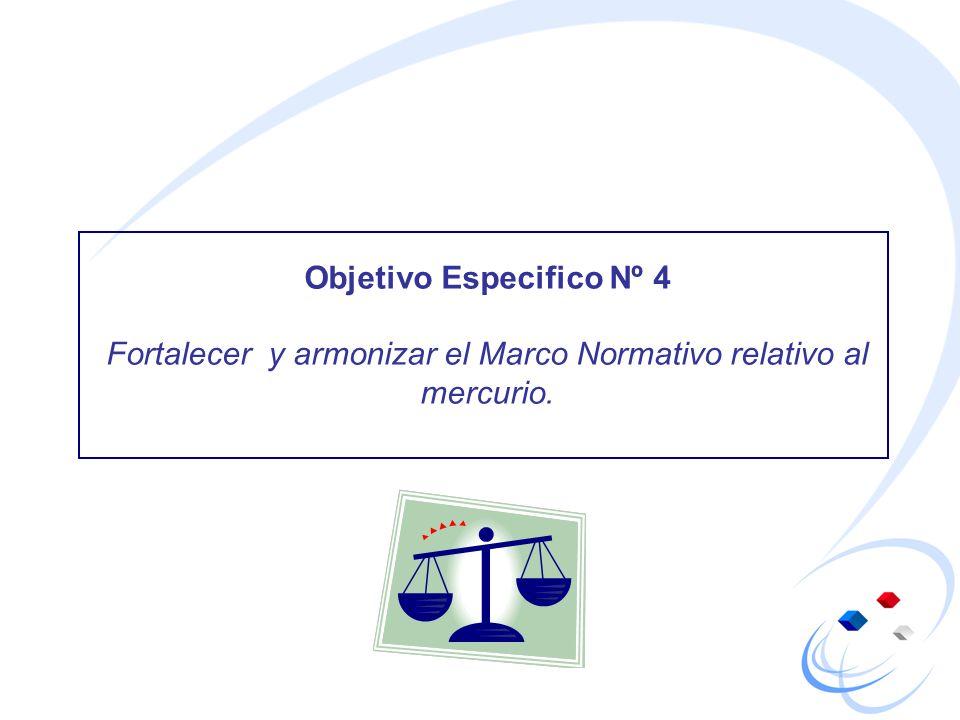 Objetivo Especifico Nº 4 Fortalecer y armonizar el Marco Normativo relativo al mercurio.