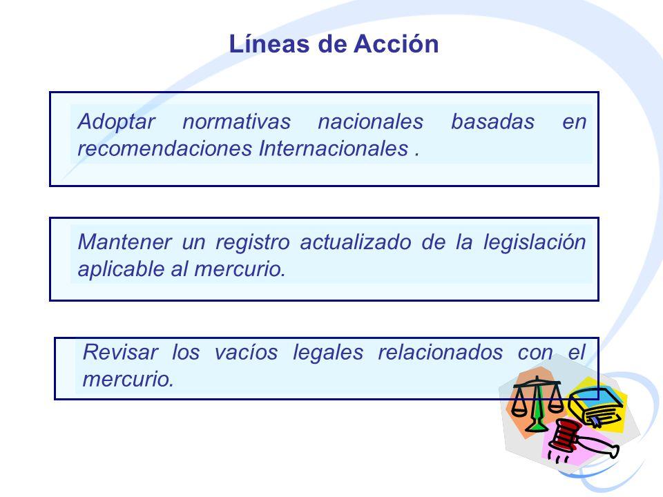 Adoptar normativas nacionales basadas en recomendaciones Internacionales. Líneas de Acción Mantener un registro actualizado de la legislación aplicabl