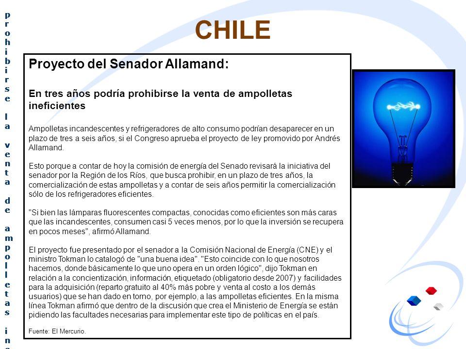 CHILE Proyecto del senador Allamand: En tres años podría prohibirse la venta de ampolletas ineficientes Proyecto del senador Allamand: En tres años po