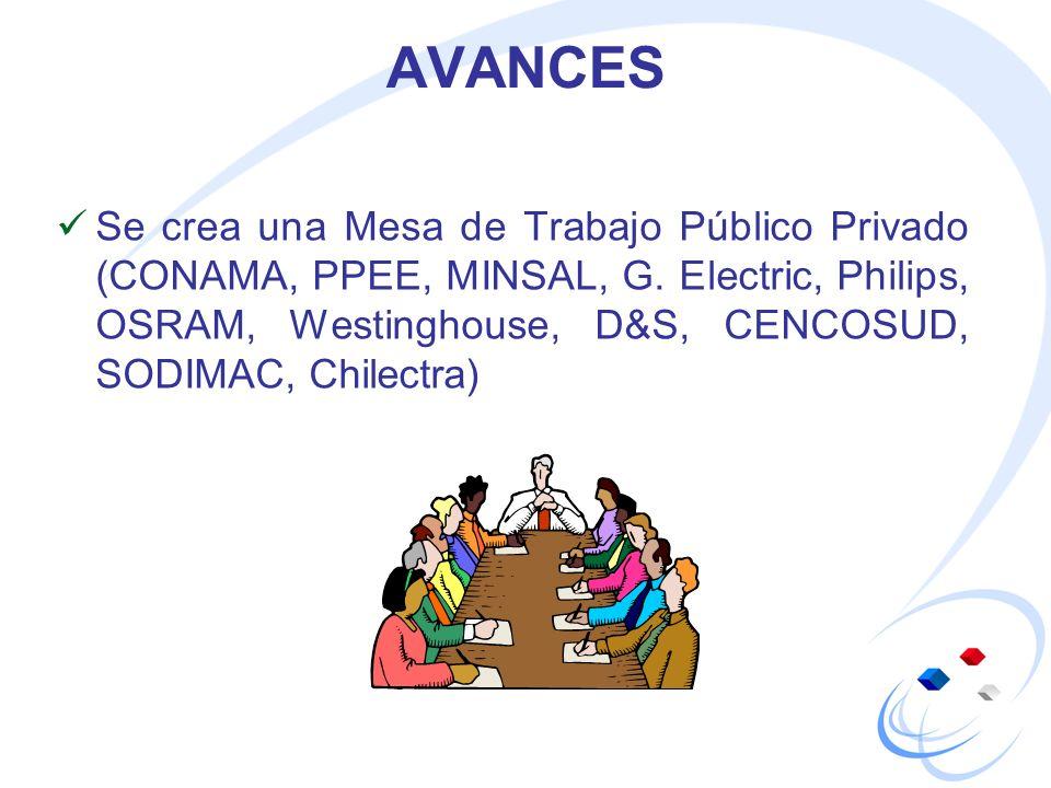 AVANCES Se crea una Mesa de Trabajo Público Privado (CONAMA, PPEE, MINSAL, G. Electric, Philips, OSRAM, Westinghouse, D&S, CENCOSUD, SODIMAC, Chilectr