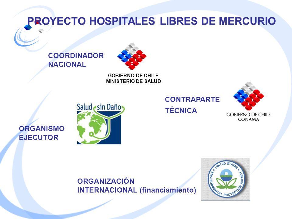 PROYECTO HOSPITALES LIBRES DE MERCURIO COORDINADOR NACIONAL CONTRAPARTE TÉCNICA ORGANISMO EJECUTOR ORGANIZACIÓN INTERNACIONAL (financiamiento) GOBIERN